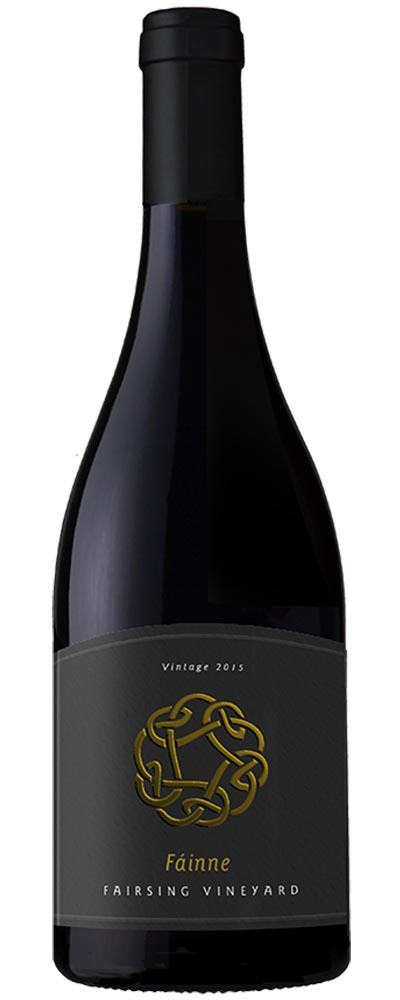 Fairsing Vineyard's 2015 barrel select Fáinne Pinot noir with gold Celtic Knot on the label is the epitome of Oregon's Willamette Valley