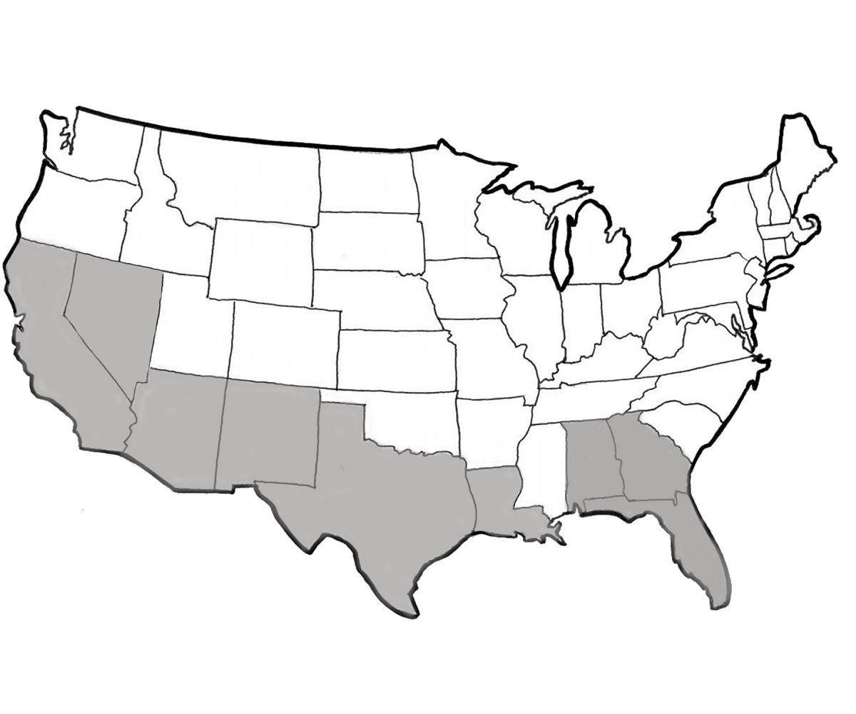 Fairsing Vineyard black and white map of United State identifying South zones states for fall 2021 allocation