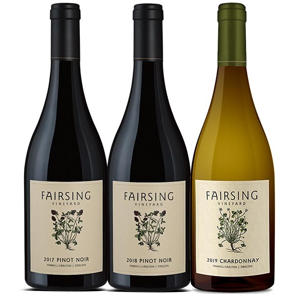Fairsing Vineyard estate wines include Pinot noir and Chardonnay with crimson and white clover on the labels