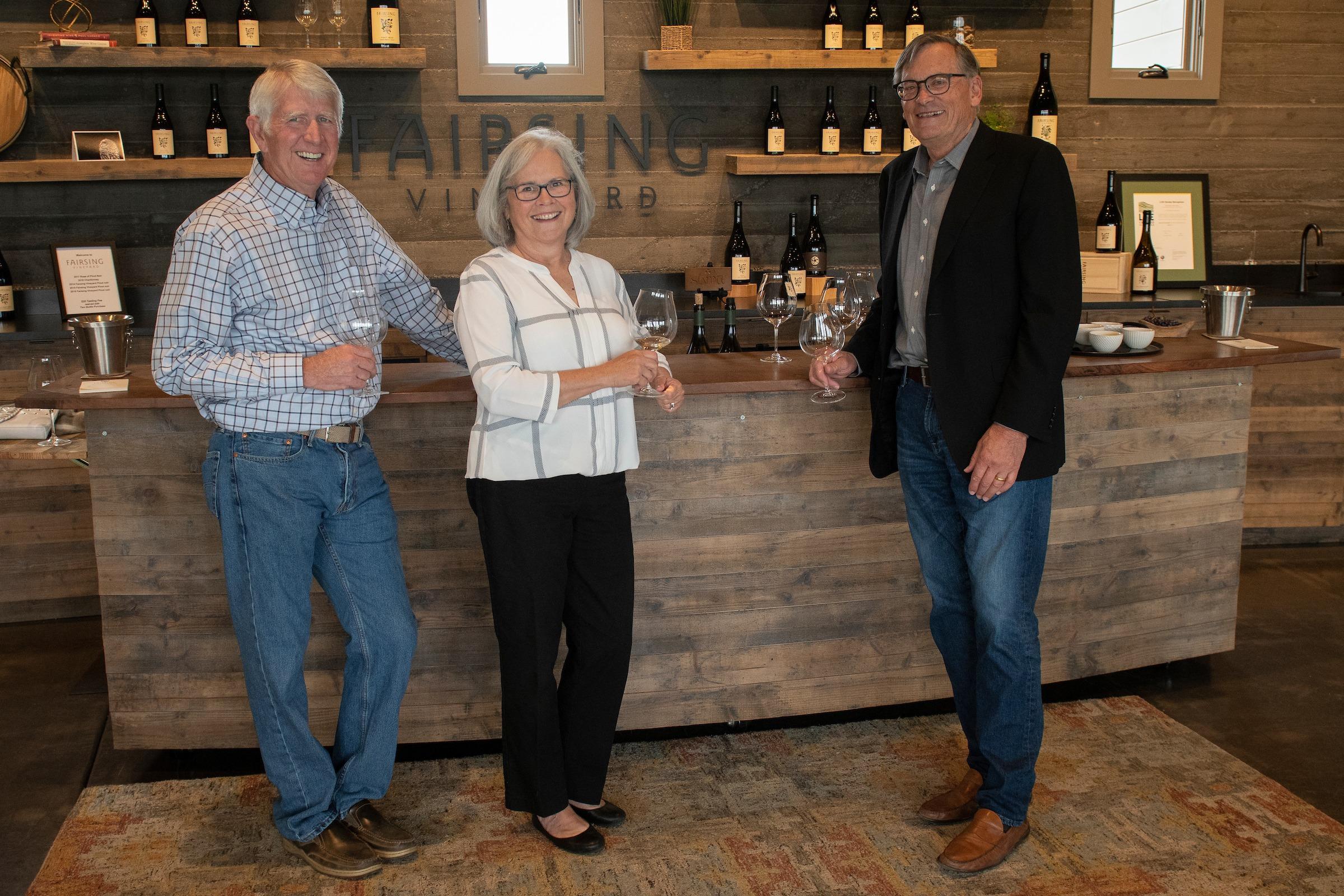 Fairsing Vineyard owners and winemaker Robert Brittan in the tasting room in Oregon's Willamette Valley