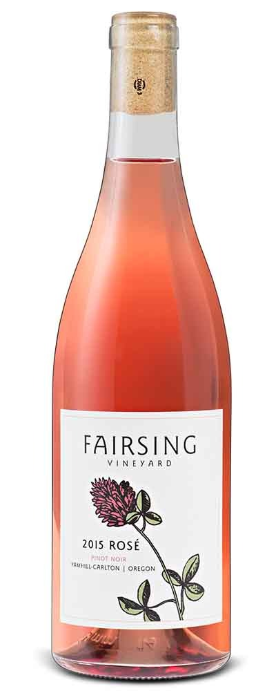 The 2017 Fairsing Vineyard Kenney Pinot Noir with crimson clover on the label is a robust and tawny favorite