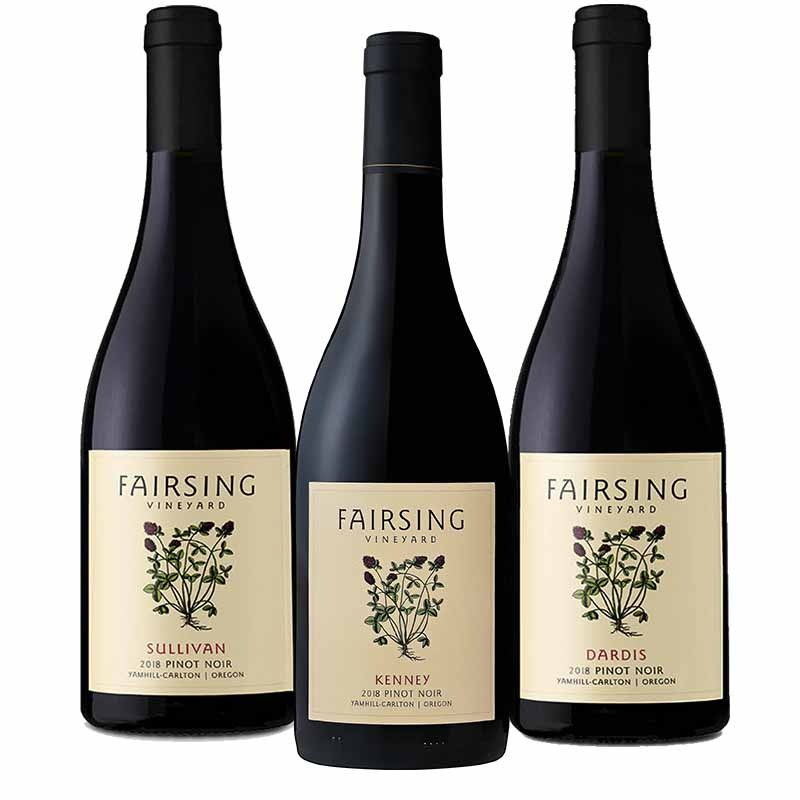 The 2018 Fairsing Vineyard Pinot noir Matriarch Trio includes focused and distinct wines from the estate located high in Oregon's Willamette Valley