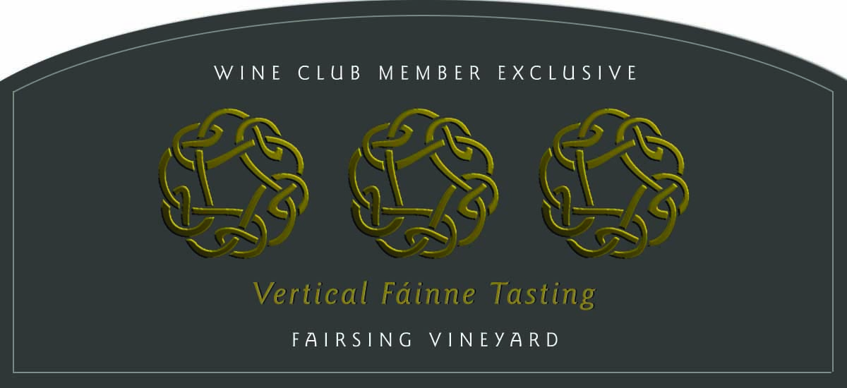 Three Celtic knots in gold foil represent the three vintages of the Fairsing Vineyard Fáinne Pinot noir to be poured at a vertical tasting Sunday, October 31